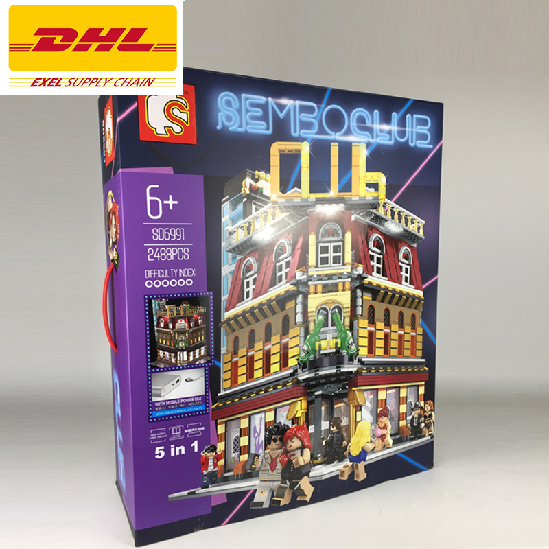 2018 NEW 2488Pcs City series LED nightclub club Model Building Kits Blocks Bricks Toys For Children Gift Compatible With 10182