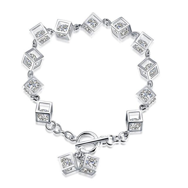 Nueva moda Original joyería de plata esterlina pavimenta CZ cubos de piedra pulseras del encanto Compatible con la joyería DIY europeos