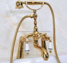 цена на Deck Mounted Gold Color Brass Bathtub Faucet Dual Handles Mixer Tap with Hand Shower Bna134