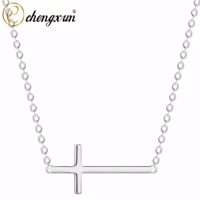 Chengxun western jewelry women necklace jesus cross pendant collier chengxun western jewelry women necklace jesus cross pendant collier silver pendants necklace 2018 fashion aloadofball Image collections