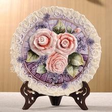 Фиолетовая Роза декоративная настенная посуда, фарфоровые декоративные тарелки, винтажный домашний декор, ремесла, украшение для комнаты, свадебное украшение, статуэтка