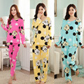 Новая Мода Повседневная Пижамы Наборы Женщины Пижамы С Длинным Рукавом О-Образным Вырезом Леди Хлопка Пижамы Пижамы Сна Charater Отпечатано Костюмы