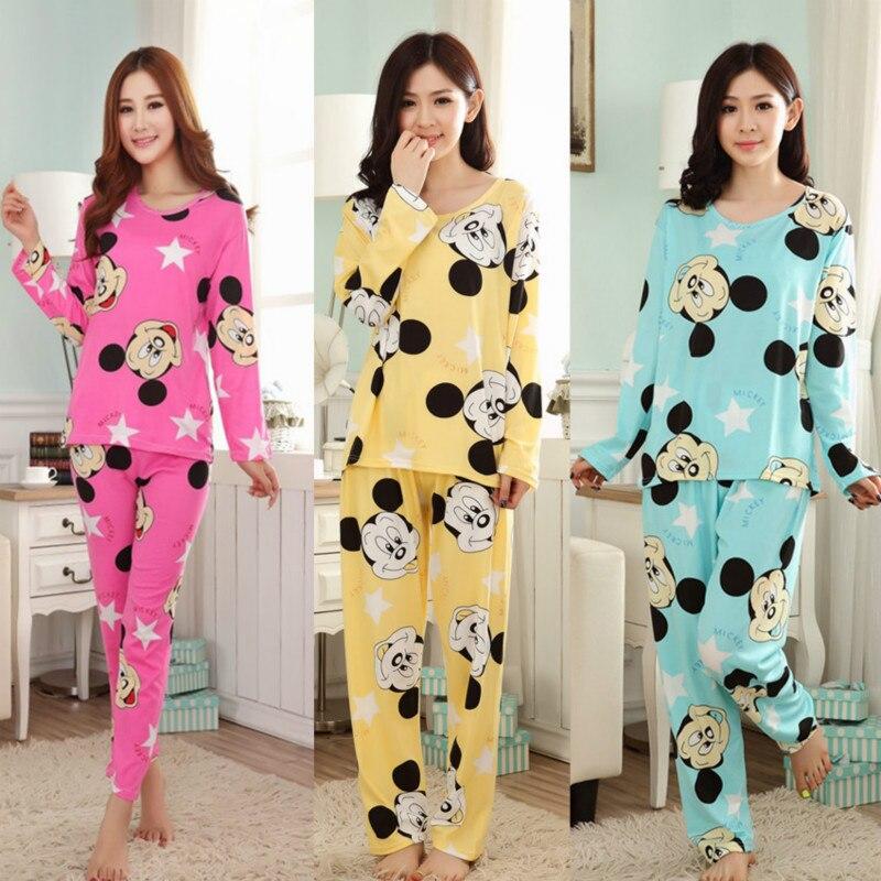 a9c4fc3693 Nova Moda Casual Conjuntos Pijamas Das Mulheres Pijamas de Manga Longa O  Pescoço Lady Charater Algodão Pijamas roupa Sono Ternos Impressos
