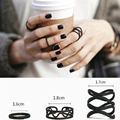 3Pcs Punk Multilayer Hollow Cross Midi Finger Tip Rings Female Black Stack Plain Above Knuckle Ring Set For Women Anel