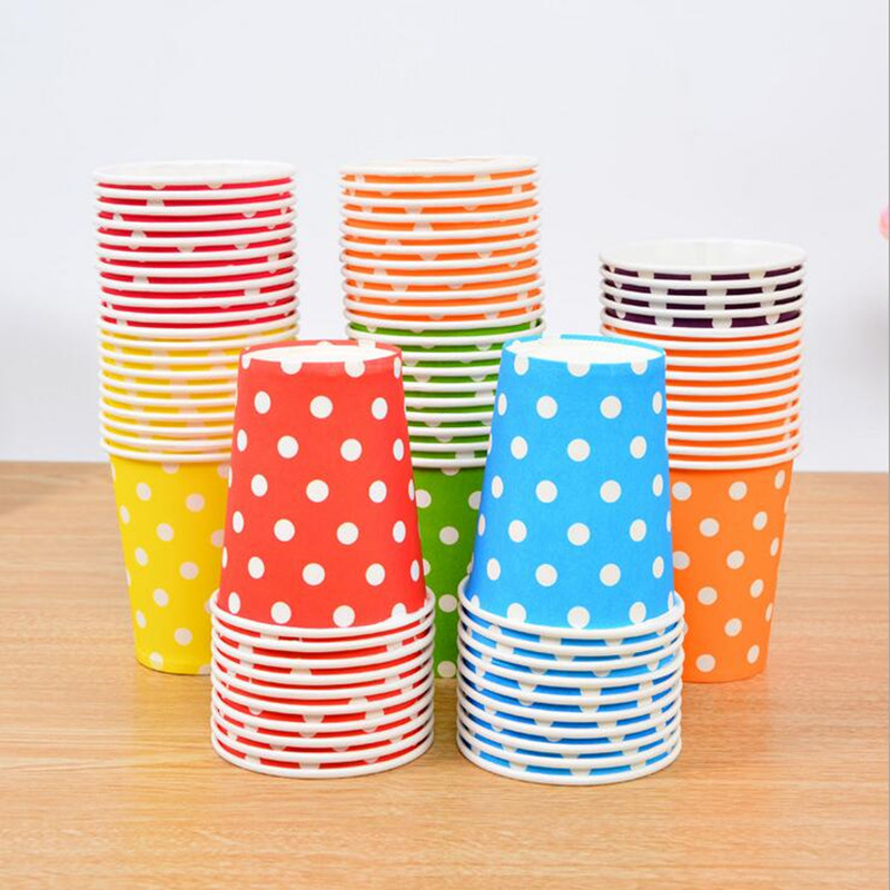 2017 Colorful Polka Dot Paper Cups Disposable Tableware Birthday Table Decorations Disposable Cups Christmas New Year