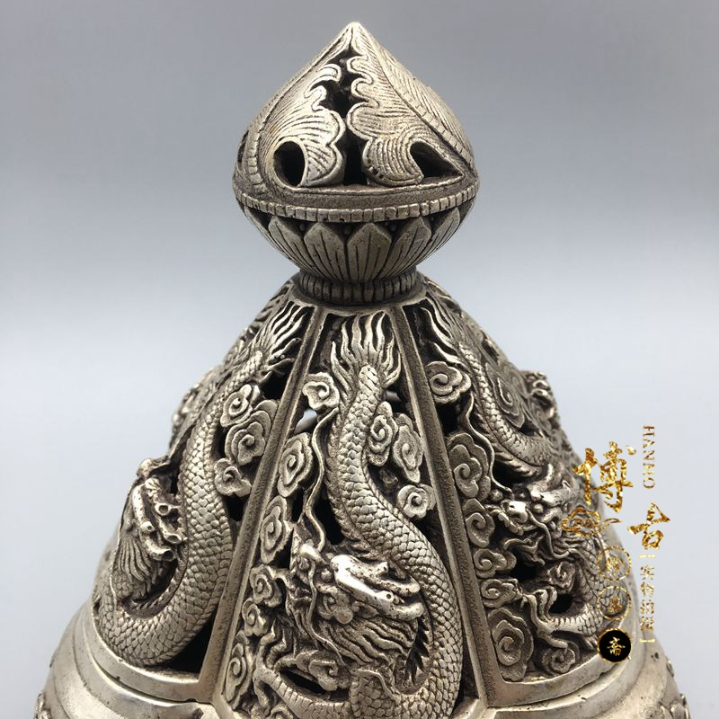 Chinas rare miao silver Kowloon incense burner statue family living room home decoration metal crafts Chinas rare miao silver Kowloon incense burner statue family living room home decoration metal crafts