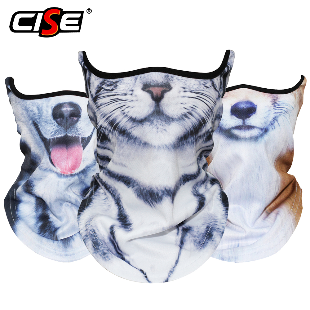 3D Animal Neck Gaiter Breathable Windproof Motorcycle Balaclava Half Face Mask Ski Halloween Snowboard Cycling Fox Shorthair Cat