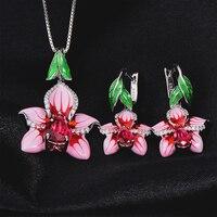 Authentische 925 Sterling Silber Silber Emaille Blume stub Ohrringe Anhänger Schmuck-Set Für Frauen Halskette Anhänger Modeschmuck