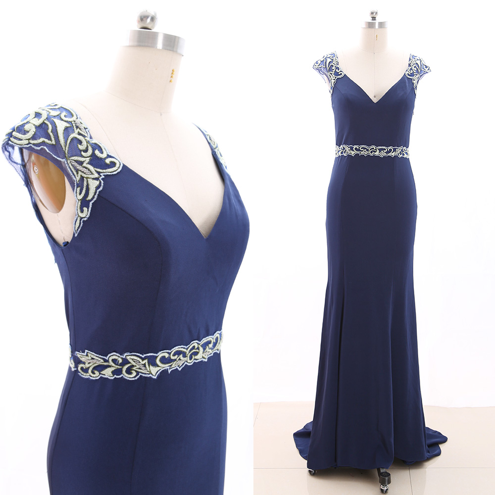 MACloth Dark Navy Sweep Train V Neck Floor-Length Long Embroidery Jersey   Prom     Dresses     Dress   S 266096 Clearance