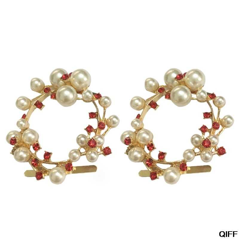 2 Pcs/Set Shoe Clip Rhinestone Red White Glittering Pearl Floral Exquisite Luxury Clips Wedding High Heel Decoration Buckle