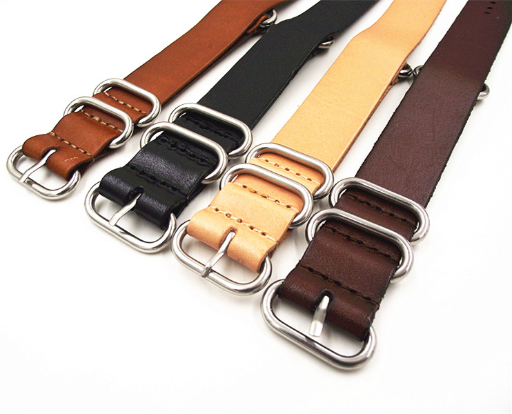 1PCS High quality 18MM 20MM 22MM 24MM Nato strap genuine cow leather Watch band NATO straps zulu strap watch strap 18mm 20mm 22mm 24mm 26mm nato strap genuine leather black green brown yellow watch band black buckle silver buckle nato straps