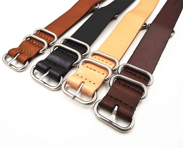1PCS High quality 18MM 20MM 22MM 24MM Nato strap genuine cow leather Watch band