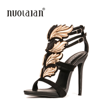 Brand fashion women pumps leaf flame high heel pumps shoes for women sexy peep toe high heels sandals party wedding shoes woman(China)