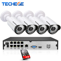 8CH 1080P 48V POE NVR Kit 4pcs 2MP 3000TVL PoE IP Camera P2P Cloud CCTV System