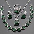 Сделано в Китае Зеленый Создания Изумрудный Ювелирные Наборы Для Женщин Серебряный Цвет Браслета Ожерелья Серьги Стержня Бесплатный Подарочная Коробка