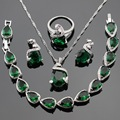Made in China Green Created Emerald Jewelry Sets For Women Silver Color Bracelet Necklace Pendant Stud Earrings Free Gift Box