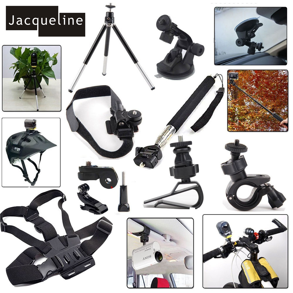 Jacqueline for Kit Accessories Mount Set for Sony Action Cam HDR AS15 AS20 AS200V AS30V AS100V AZ1 mini FDR-X1000V/W 4 k jacqueline for set kit accessories for sony action cam hdr as200v as30v as100v as20 az1 mini fdr x1000v w 4 k for yi action cam