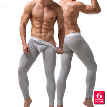 Solid Color Men's Long Johns Pants Thermal Underwear Low Rise Modal Men Underpants M -XXL
