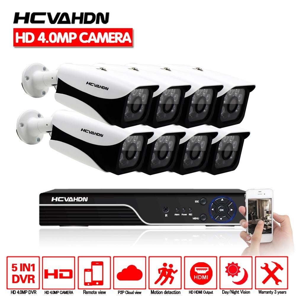 Home Security 8CH 4MP HDMI DVR Canal 8 AHD 4.0 p CCTV Sistema de Câmera Ao Ar Livre de Visão Noturna de Vigilância de Vídeo Kit sem HDD