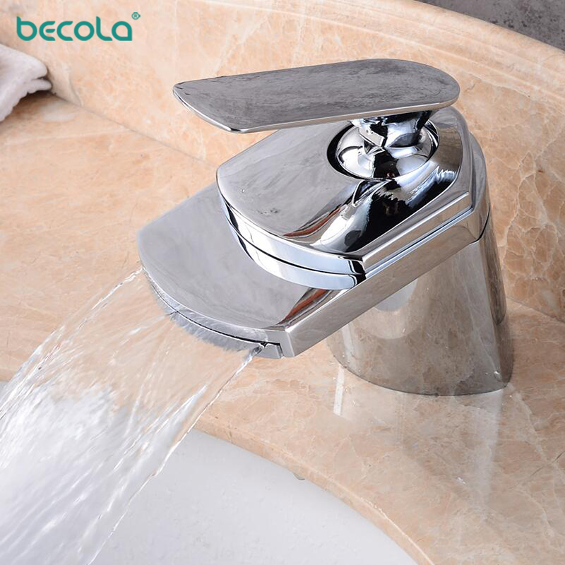 Waterfall Washbasin Faucet Commercial Bathroom Sink Taps 360 ° Rotatable Bathroom Faucet Tap Mixer Tap Bathroom Mixer Washbasin Mixer Brass Bathroom-Silver