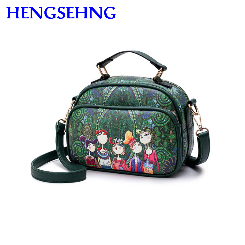 Free shipping hengsheng forest women messenger bags with forest cartoon women single shoulder bags by leather women hand bags