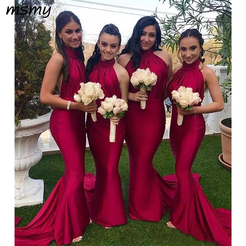 Halter Mermaid Long Slim Bridesmaids Dresses Sexy Backless 2019 Custom Simple Vestidos De Honor Of Maid Cheap Guest Prom Party