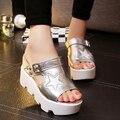 Размер 34 - 40 новых 2016 лето т-ремень мода женская обувь искусственная кожа сандалии гладиаторов женщин-платформы клин обувь