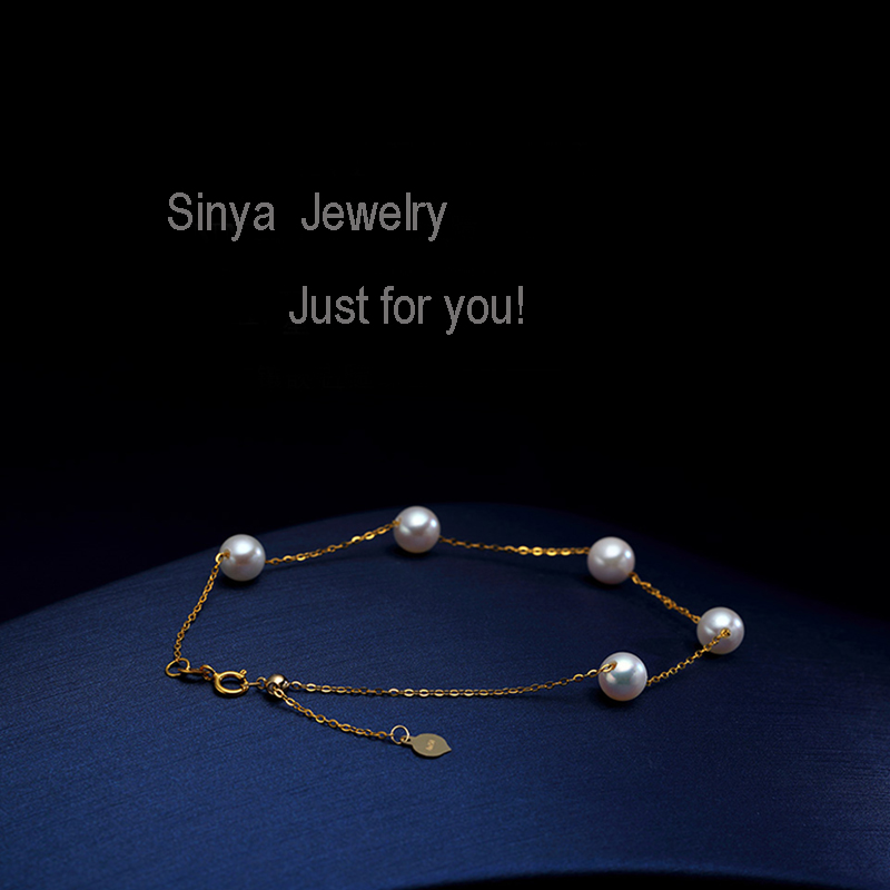 Sinya Au750 gold Bracelet Anklet with natural pearls for women girls Mom 20cm with move gold beads can adjust length (14)