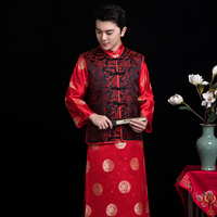 Chinese style wedding Qipao for men red cheongsam costumes grooms dress jacket long gown traditional embroidery male tang suit