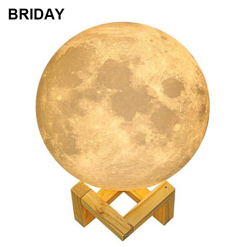Rechargeable 3D Print Moon Lamp 2 Color Change Touch Switch Bedroom Bookcase LED Night Light Colorful Home Decor Creative Gift