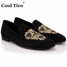 COOL TIRO Large Size Mens Black sheepskin Loafers triangle Embroidered Men Wedding Party Shoes Men's Flats Male Smoking slippers