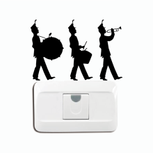 KG-237 Marching Band Switch Sticker - Three Musician Wall Sticker - Music Instruments Decor Home Wallpaper(China)