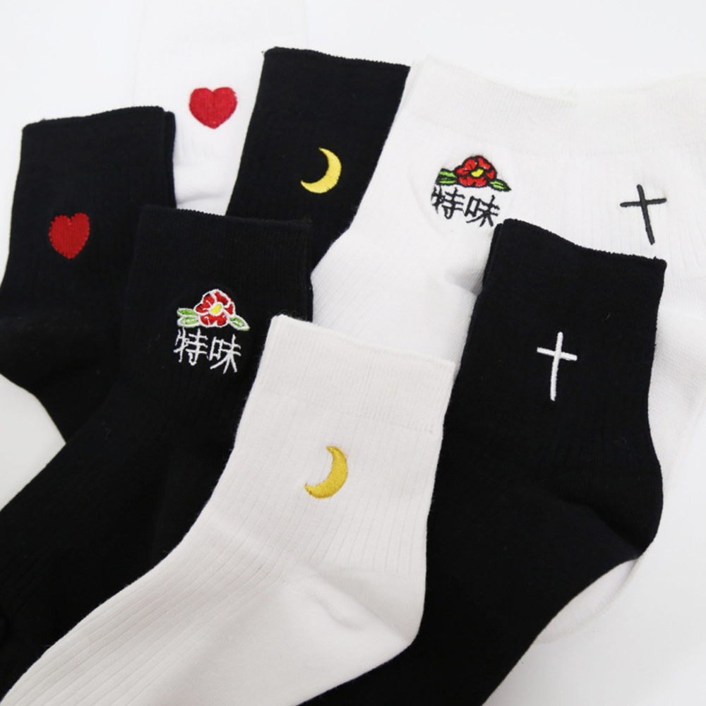 Foot 22-26cm Funny Short Socks French Fries Japanese Human Shark Bear Rocket Smoke Smoking Girl Black Fashion Daily Work Day ...