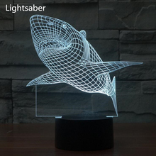 5V USB Shark 3D Lights led table lamp Colorful Vision Stereo Acrylic Light 3D Lighting Colorful Home Night Light Gift desk lamp