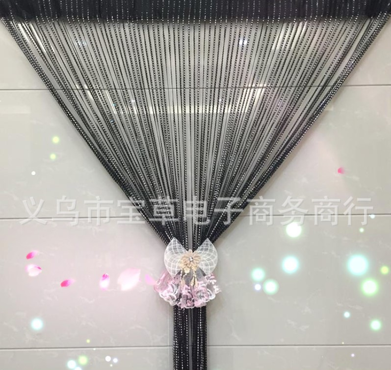100*200cm high-grade encryption S silver skin line curtain Door curtain partition interior decoration curtains. ...