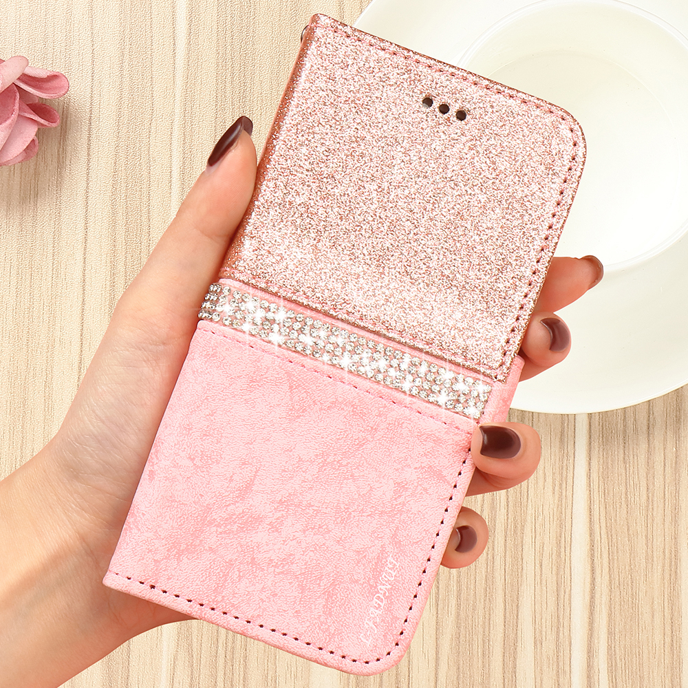 HTB1YiGdQSzqK1RjSZFLq6An2XXax - Bling Glitter Wallet Phone Case For iPhone X Xr Xs 11 Pro Max Leather Purse For Apple 6S 6 8 7 Plus 5 5S SE 2020 360 Girls Cover