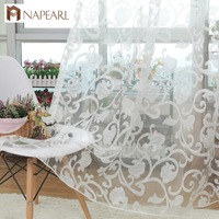 European Style Jacquard Design Sheer Panel Tulle Curtain For Living Room And Balcony