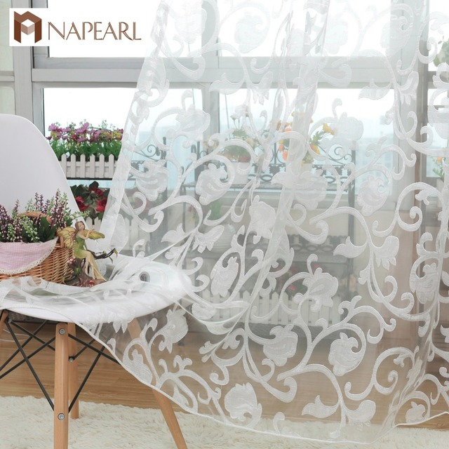 NAPEARL European style jacquard design sheer panel tulle curtain for living room balcony organza fabrics European style window