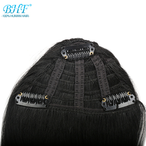 BHF Human Hair Bangs 8inch 20g clip in Straight Remy Natural Fringe Hair 3 clip Front Bangs