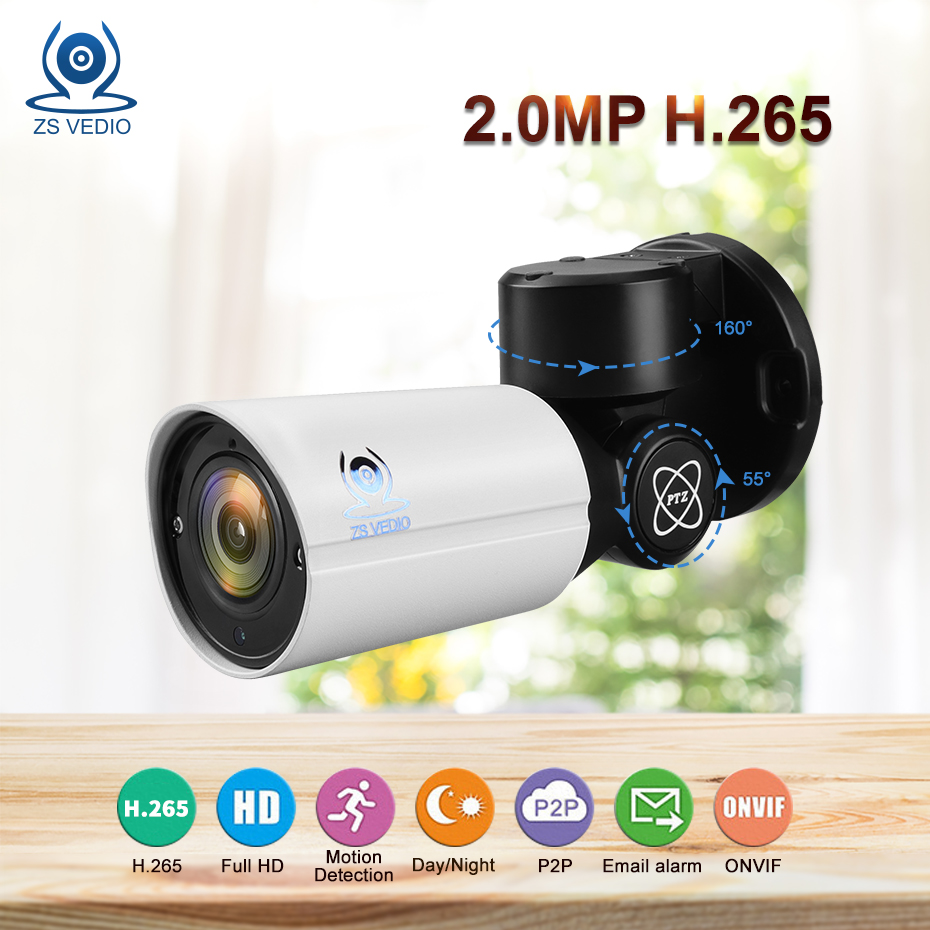 где купить ZSVEDIO Surveillance cameras IP Camera 2.0MP SONY Mini PTZ H.265 Cloud Storage 4X Optical Zoom P2P CCTV Security Onvif camera дешево