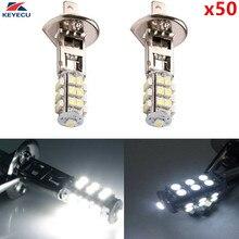 Keyecu 50 шт. H1 3528 25smd яркий белый светодиодный Замена лампы для противотуманных фар или дальнего света