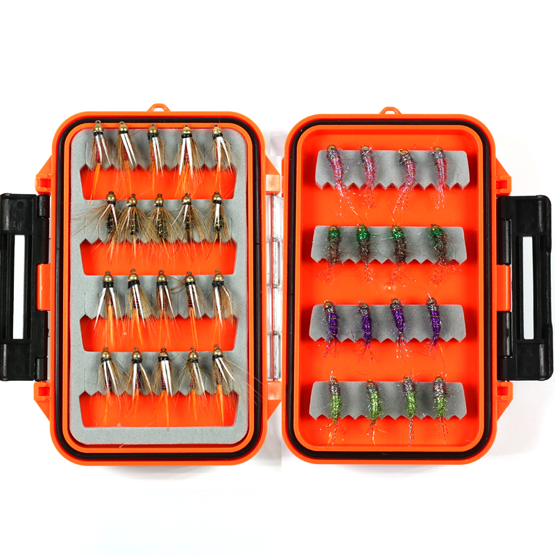 Bimoo 36pcs/box Trout Fly Fishing Brass Bead Head Prince's Nymph Red Copper John with Pocket Size Fly Box Grayling Flies fly ff248 red