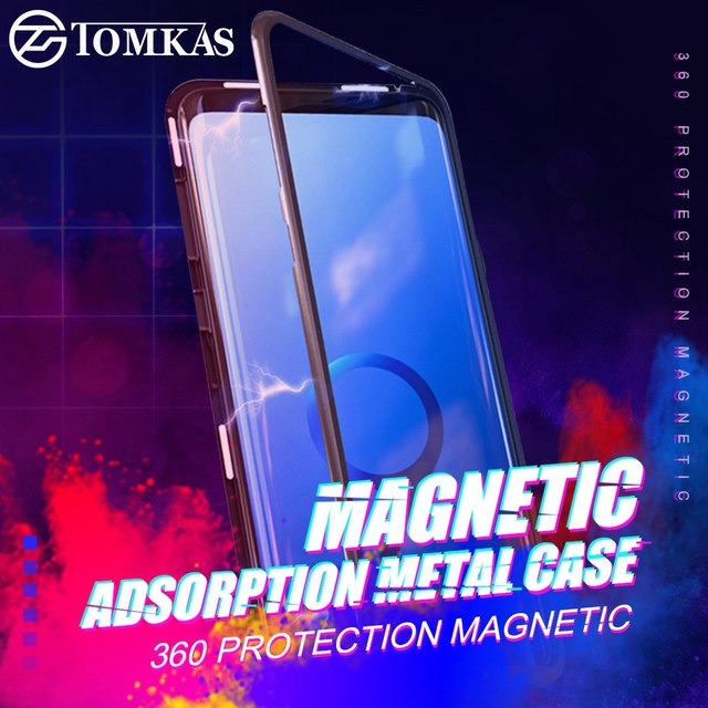 Magnetic Adsorption Case For Samsung Galaxy S8 Tempered Glass Case For Samsung S9 Note 8 Huawei P20 Pro For iPhone X 7 8 6 6S
