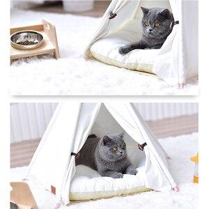 Image 5 - 개 텐트 시간 제한 판매 100% 코 튼 기계 워시 고체 Yuyu 애완 동물 Teepee 하우스 침대 고양이 작은 개를위한 휴대용 개 텐트