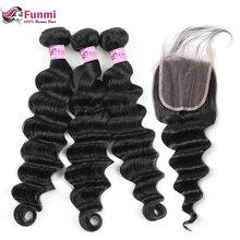 Funmi свободные глубокие волнистые пучки с закрытием 4X4 дюймов Связки малайзийских волос с закрытием Детские волосы 3 пучка с кружевом