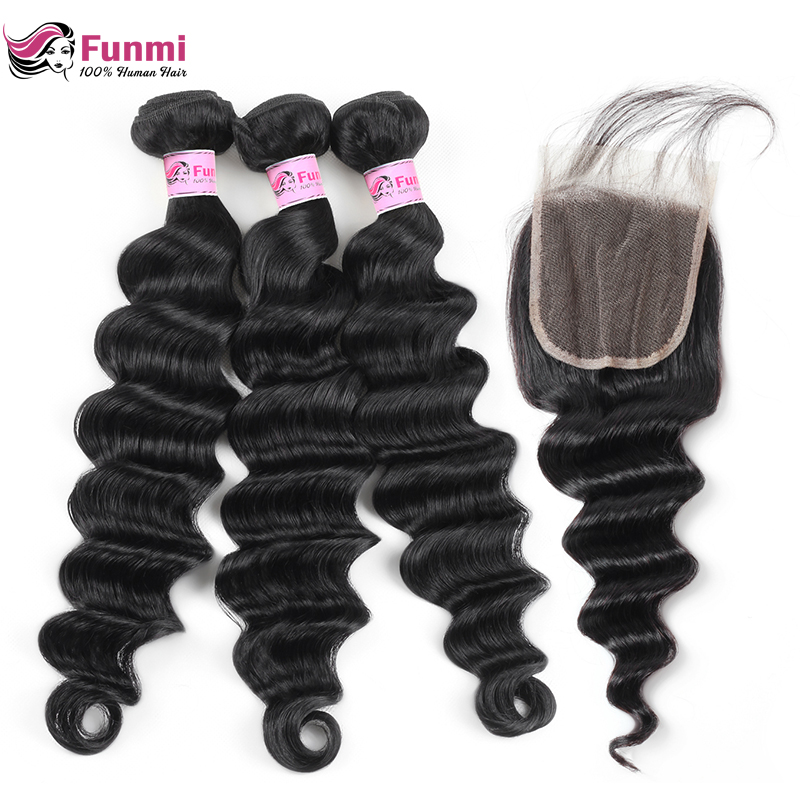 Funmi Loose Deep Wave Bundles With Closure 4X4 Inch Malaysian Hair Bundles With Closure Baby Hair 3 Bundles With Lace Closure