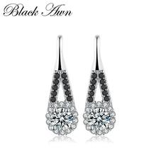 Trendy 1.6g 925 Sterling Silver Earring Black Spinel Anniversary Drop Earrings for Women Fine Jewelry T120