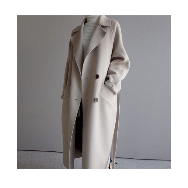 Fashion 2019 Autumn Winter New Women Woolen Coat Vintage Turn-Down Collar Sashes Loose Long Coats Casual Solid Outerwear