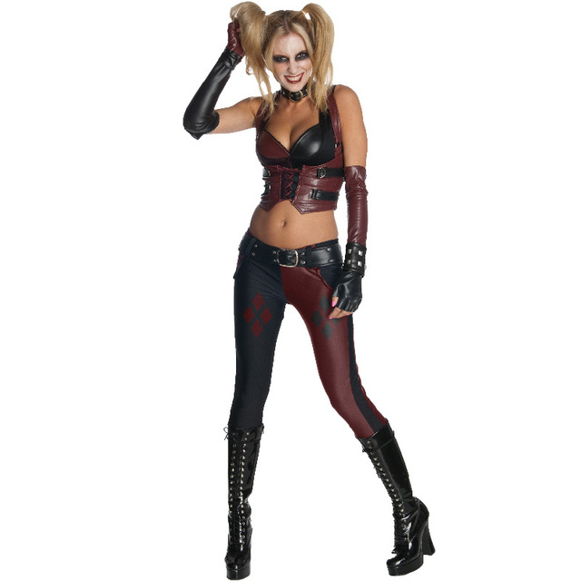 harley quinn costume batman arkham city secret wishes cosplay adult party halloween costumes for women superhero - City Party Halloween Costumes
