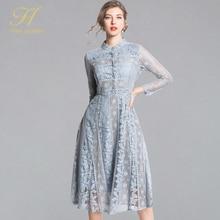 H האן מלכת הגעה חדשה 2019 אביב תחרה שמלת אופנה בציר פרחוני חלול החוצה יוקרה אלגנטי Slim נשים ערב המפלגה שמלות